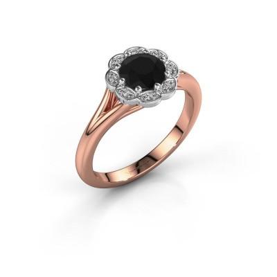 Aanzoeksring Claudine 585 rosé goud zwarte diamant 1.00 crt
