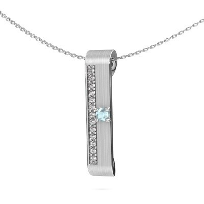 Halsketting Vicki 925 zilver aquamarijn 3 mm