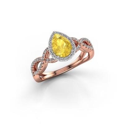 Verlovingsring Dionne pear 585 rosé goud gele saffier 7x5 mm