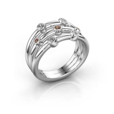 Ring Chloe 925 silver brown diamond 0.18 crt