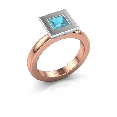 Stapelring Eloise Square 585 rosé goud blauw topaas 5 mm
