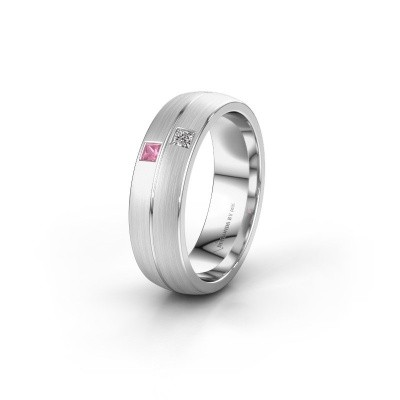Wedding ring WH0250L26BM 950 platinum pink sapphire ±0.24x0.08 in