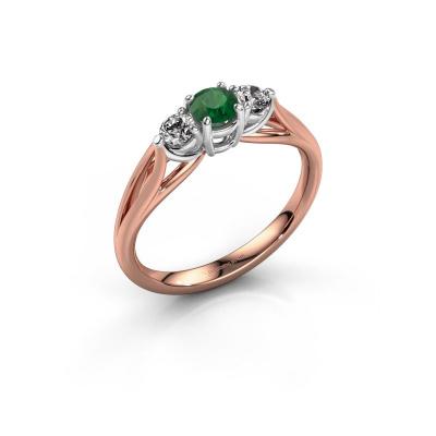 Foto van Verlovingsring Amie RND 585 rosé goud smaragd 4.2 mm