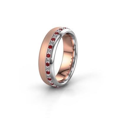 Trouwring WH0303L36BMP 585 rosé goud robijn ±6x2 mm