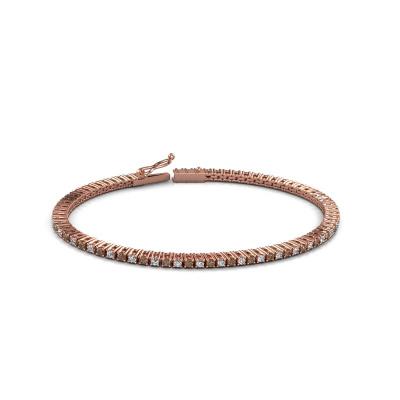 Tennisarmband Karin 2 mm 375 rosé goud bruine diamant 2.16 crt