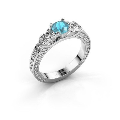 Picture of Engagement ring Gillian 585 white gold blue topaz 5 mm