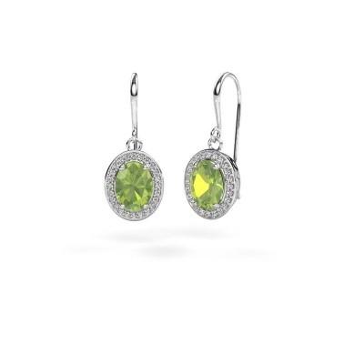 Drop earrings Latesha 375 white gold peridot 8x6 mm
