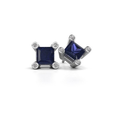Picture of Stud earrings Cornelia Square 925 silver sapphire 6 mm