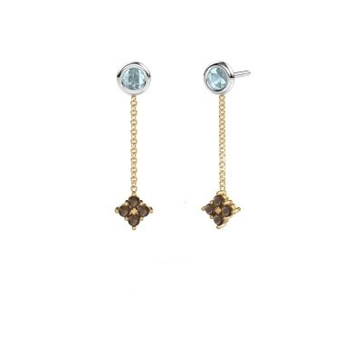 Picture of Drop earrings Ardith 585 gold smokey quartz 2 mm