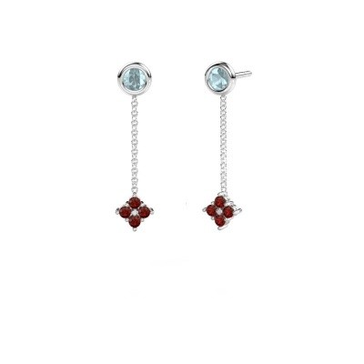 Picture of Drop earrings Ardith 585 white gold garnet 2 mm