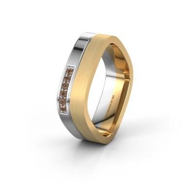 Foto van Trouwring WH6030L16A 585 witgoud bruine diamant ±6x1.7 mm