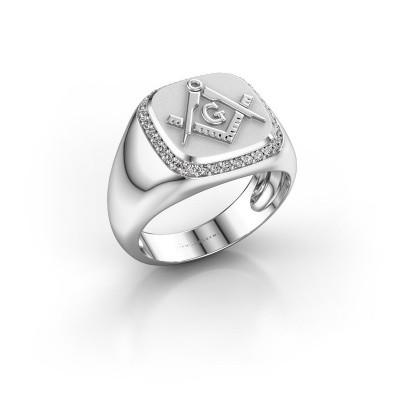 Foto van Heren ring Johan 375 witgoud zirkonia 1.2 mm