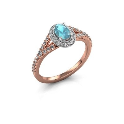 Belofte ring Pamela OVL 585 rosé goud blauw topaas 7x5 mm