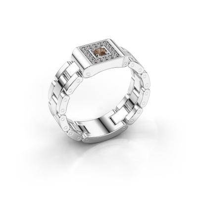 Herrenring Giel 585 Weißgold Braun Diamant 0.20 crt