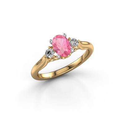Foto van Verlovingsring Laurian OVL 585 goud roze saffier 7x5 mm