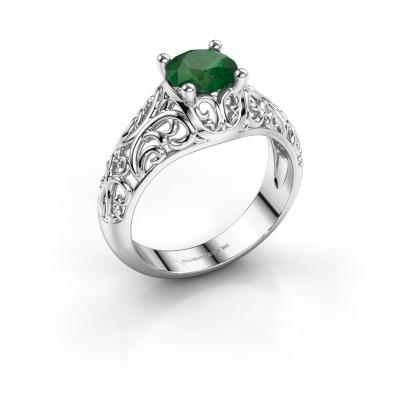 Ring Mirte 950 platina smaragd 6.5 mm