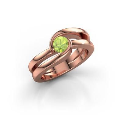Foto van Ring Xenia 1 375 rosé goud peridoot 5 mm