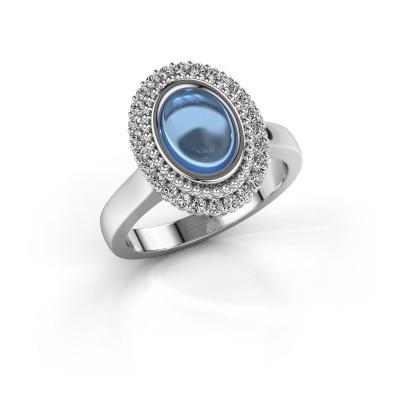 Ring Maartje 585 witgoud blauw topaas 8x6 mm