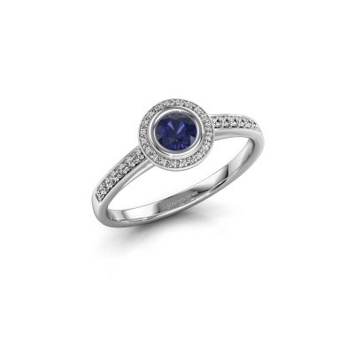 Engagement ring Noud 2 RND 585 white gold sapphire 4 mm