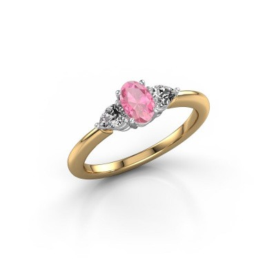 Foto van Verlovingsring Chanou OVL 585 goud roze saffier 6x4 mm