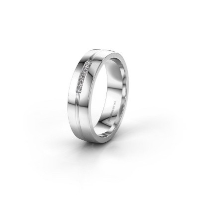 Trouwring WH0132L25B 585 witgoud diamant ±5x2 mm