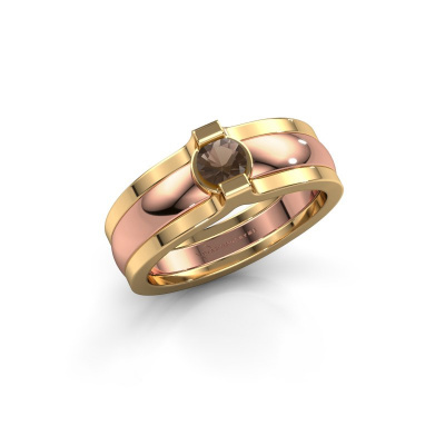 Ring Jade 585 Roségold Rauchquarz 4 mm