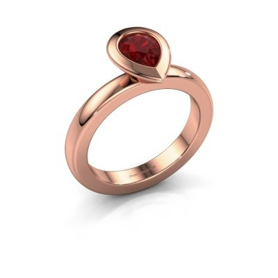 Stapelring Trudy Pear 585 rosé goud robijn 7x5 mm