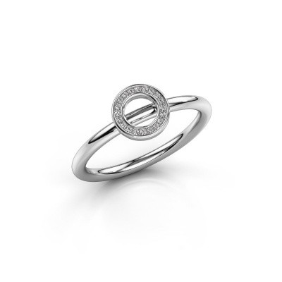 Foto van Ring Shape round small 375 witgoud zirkonia 0.8 mm
