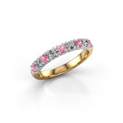 Engagement ring Rianne 9 585 gold pink sapphire 2.4 mm