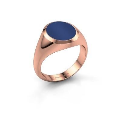 Foto van Zegelring Herman 3 375 rosé goud lapis lazuli 13x11 mm