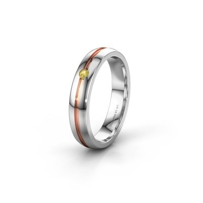 Wedding ring WH0424L24A 585 white gold yellow sapphire ±4x1.7 mm