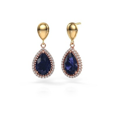 Picture of Drop earrings Cheree 1 585 rose gold sapphire 12x8 mm
