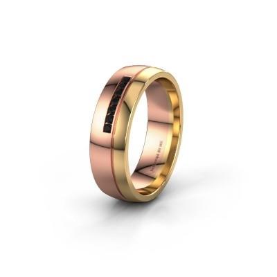 Trouwring WH0308L26AP 585 rosé goud zwarte diamant ±6x1.7 mm
