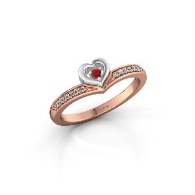 Ring Mimi 585 rosé goud robijn 2 mm