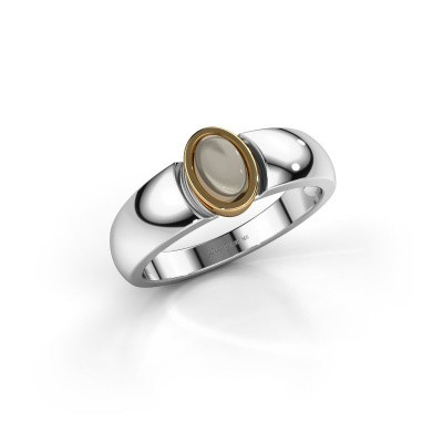 Ring Tonneke 585 witgoud rookkwarts 6x4 mm