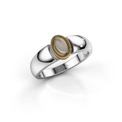 Ring Tonneke 585 Weißgold Rauchquarz 6x4 mm