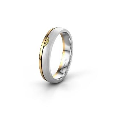 Wedding ring WH0334L24X 585 white gold yellow sapphire ±4x1.5 mm