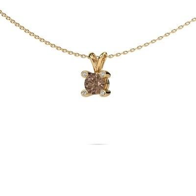 Foto van Hanger Fleur 585 goud bruine diamant 0.50 crt
