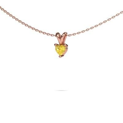 Foto van Ketting Garnet 375 rosé goud gele saffier 4 mm
