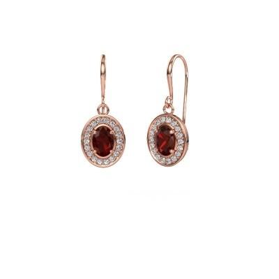 Drop earrings Layne 1 375 rose gold garnet 6.5x4.5 mm