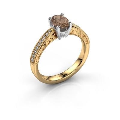 Foto van Verlovingsring Shonta OVL 585 goud bruine diamant 0.93 crt