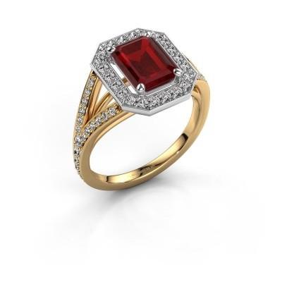 Promise ring Angelita EME 585 goud robijn 8x6 mm