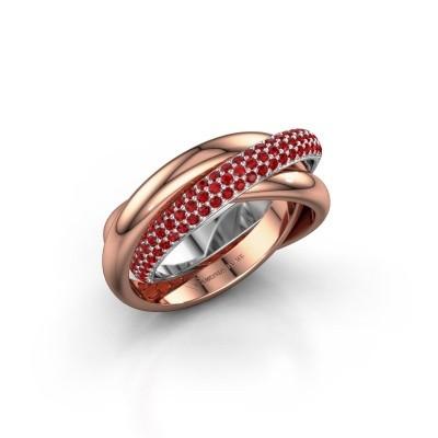 Ring Trinity 2 585 witgoud robijn 1 mm