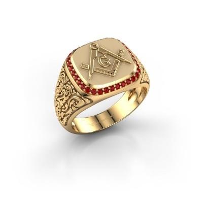 Foto van Herenring Hugo 585 goud robijn 1.2 mm