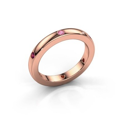 Stackable ring Charla 375 rose gold pink sapphire 2 mm