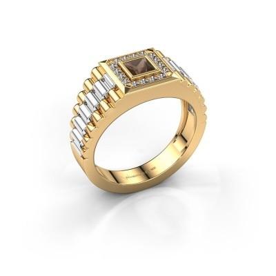 Foto van Rolex stijl ring Zilan 585 goud rookkwarts 4 mm