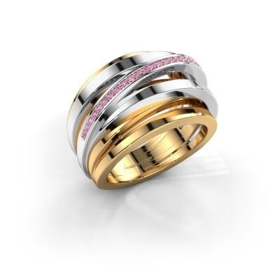 Ring Swinda 585 goud roze saffier 1 mm