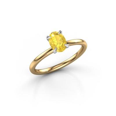 Foto van Verlovingsring Crystal OVL 1 585 goud gele saffier 7x5 mm
