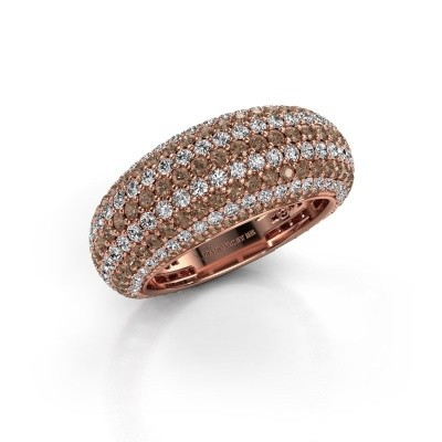 Foto van Ring Lyndia 375 rosé goud bruine diamant 2.769 crt