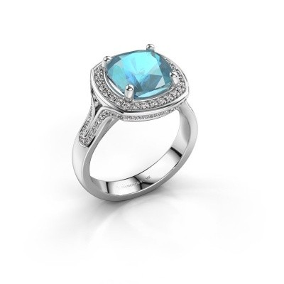 Ring Lili 585 witgoud blauw topaas 9 mm